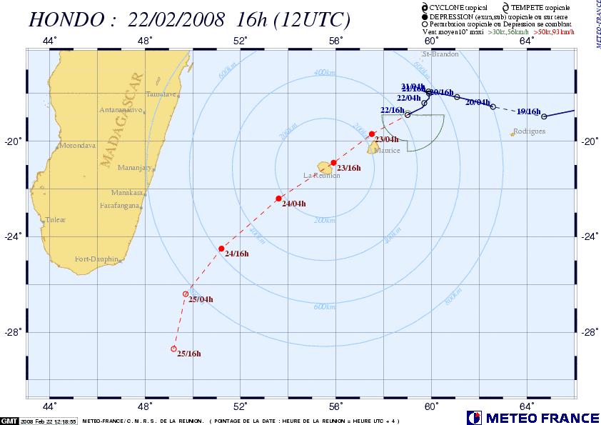 Hondo passe sur la Réunion